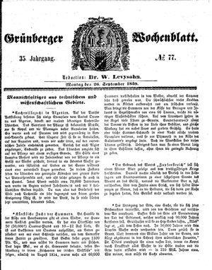 Grünberger Wochenblatt vom 26.09.1859