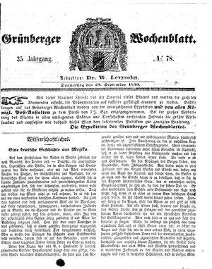 Grünberger Wochenblatt vom 29.09.1859