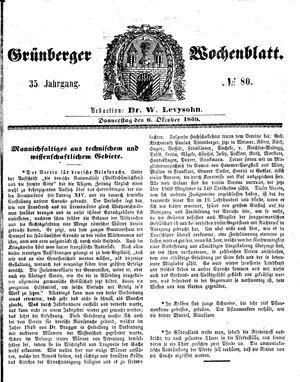 Grünberger Wochenblatt vom 06.10.1859