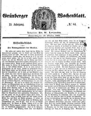 Grünberger Wochenblatt vom 20.10.1859