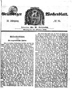Grünberger Wochenblatt vom 24.10.1859