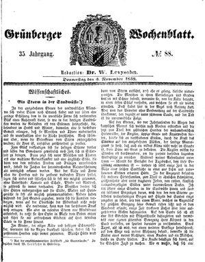 Grünberger Wochenblatt vom 03.11.1859