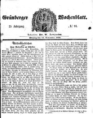Grünberger Wochenblatt vom 14.11.1859