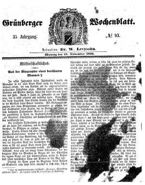 Grünberger Wochenblatt on Nov 21, 1859