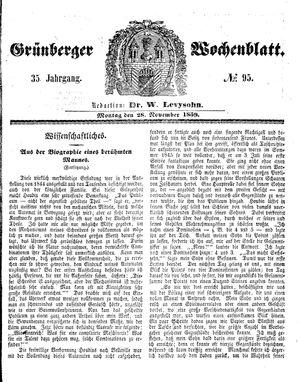 Grünberger Wochenblatt vom 28.11.1859