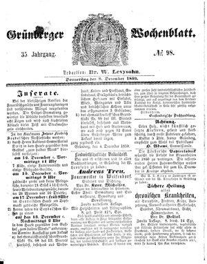 Grünberger Wochenblatt vom 08.12.1859