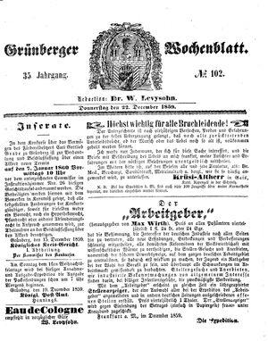 Grünberger Wochenblatt vom 22.12.1859