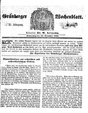 Grünberger Wochenblatt vom 29.12.1859