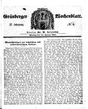 Grünberger Wochenblatt vom 14.01.1861