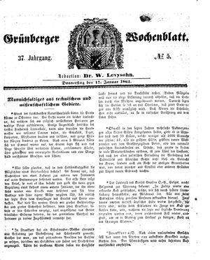 Grünberger Wochenblatt vom 17.01.1861