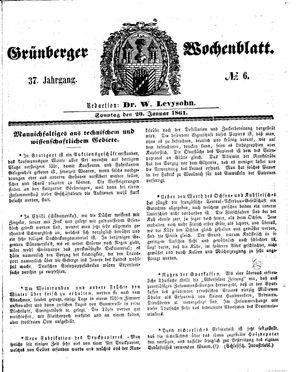 Grünberger Wochenblatt vom 20.01.1861