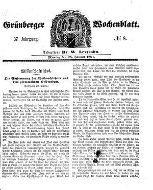 Grünberger Wochenblatt vom 28.01.1861