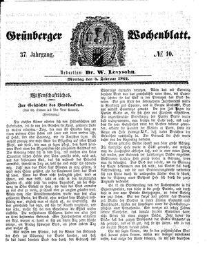 Grünberger Wochenblatt vom 04.02.1861
