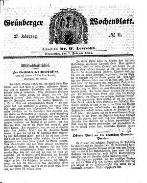 Grünberger Wochenblatt vom 07.02.1861