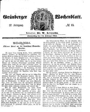 Grünberger Wochenblatt vom 14.02.1861
