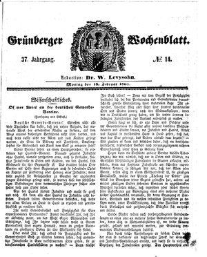 Grünberger Wochenblatt vom 18.02.1861