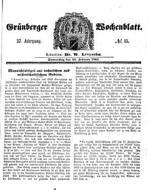 Grünberger Wochenblatt vom 21.02.1861