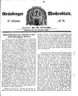 Grünberger Wochenblatt vom 25.02.1861