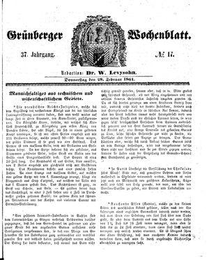 Grünberger Wochenblatt vom 28.02.1861