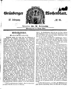 Grünberger Wochenblatt vom 04.03.1861