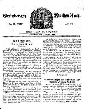 Grünberger Wochenblatt vom 07.03.1861
