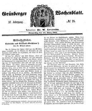 Grünberger Wochenblatt vom 14.03.1861
