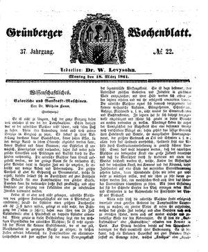 Grünberger Wochenblatt vom 18.03.1861