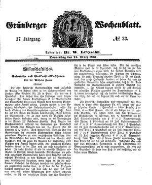 Grünberger Wochenblatt vom 21.03.1861