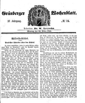Grünberger Wochenblatt on Mar 25, 1861