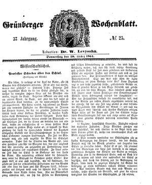 Grünberger Wochenblatt vom 28.03.1861