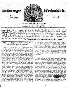 Grünberger Wochenblatt vom 30.03.1861