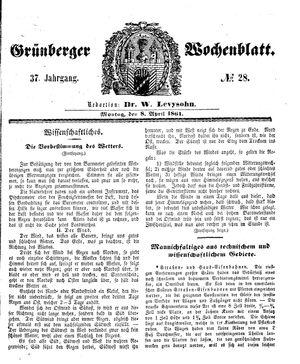 Grünberger Wochenblatt on Apr 8, 1861