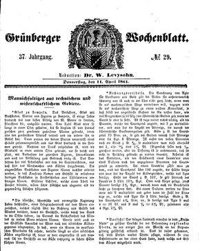 Grünberger Wochenblatt vom 11.04.1861