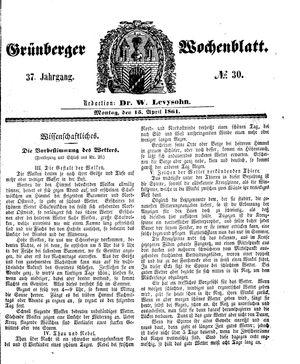 Grünberger Wochenblatt vom 15.04.1861