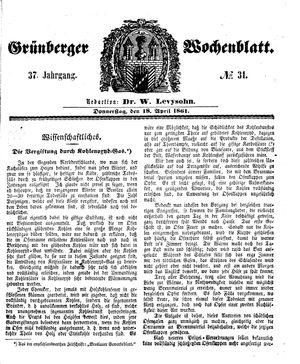 Grünberger Wochenblatt vom 18.04.1861