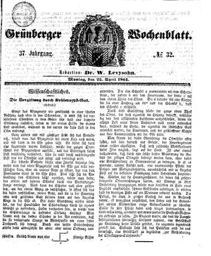 Grünberger Wochenblatt on Apr 22, 1861