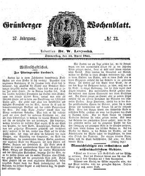 Grünberger Wochenblatt vom 25.04.1861