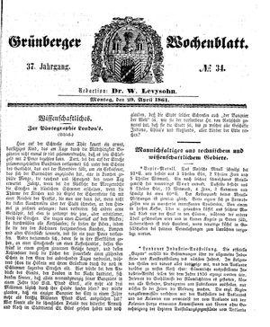 Grünberger Wochenblatt vom 29.04.1861