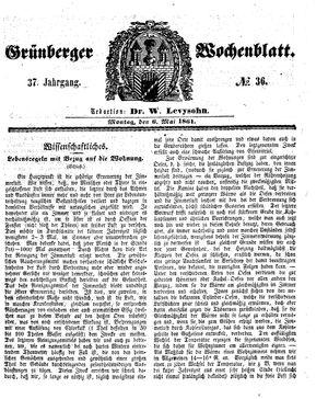 Grünberger Wochenblatt vom 06.05.1861