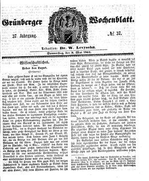 Grünberger Wochenblatt vom 09.05.1861