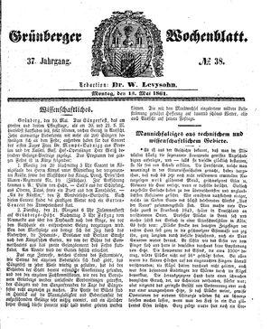 Grünberger Wochenblatt vom 13.05.1861