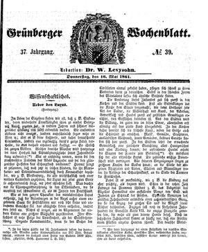 Grünberger Wochenblatt vom 16.05.1861