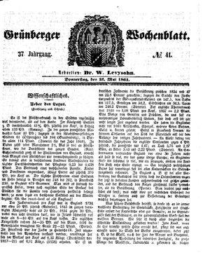 Grünberger Wochenblatt vom 23.05.1861