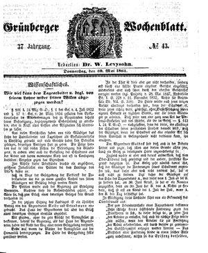 Grünberger Wochenblatt vom 30.05.1861