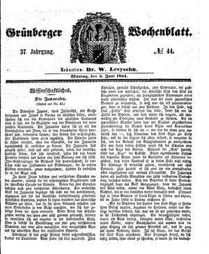 Grünberger Wochenblatt vom 03.06.1861