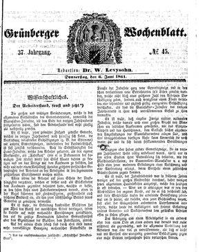 Grünberger Wochenblatt vom 06.06.1861