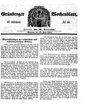 Grünberger Wochenblatt vom 10.06.1861