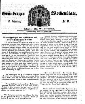 Grünberger Wochenblatt vom 13.06.1861