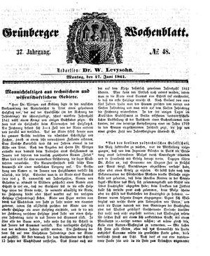 Grünberger Wochenblatt vom 17.06.1861