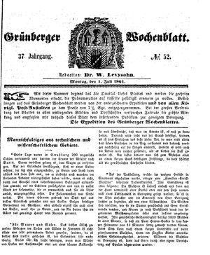 Grünberger Wochenblatt vom 01.07.1861